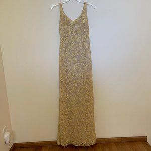 Badgley Mishka Gold Embroidered Gown